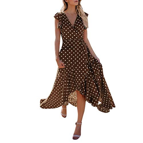 STORTO Womens Dots Boho Mini Dress Lady Beach Summer Sundress Maxi Dress (Brown, M)