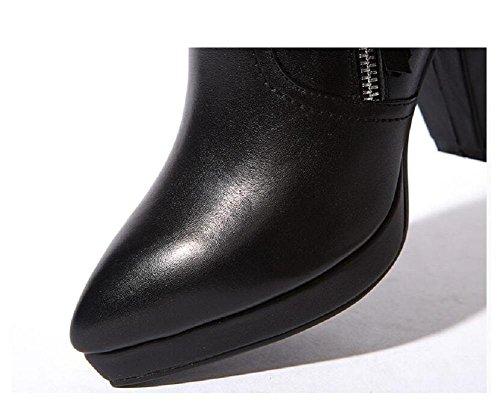 qualità tacco impermeabile stivaletti donna con vera alto 37 di di Bootie stivali Greggio giornaliero 39 pelle 5qU0RRw