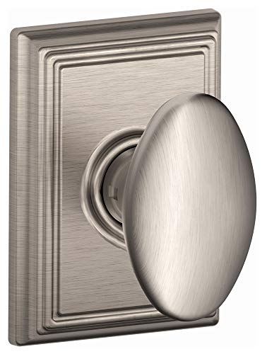 Schlage F10-SIE-ADD Siena Passage Door Knob Set with Decorative Addison Trim, Satin Nickel ()