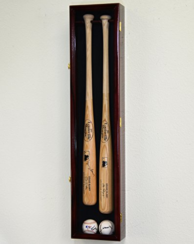 2 Baseball & Bat Display Case Cabinet Wall Mount Holder Rack (Black Background, Cherry Finish)