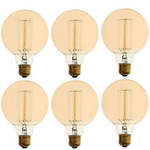 Vintage Incandescent Filament Bulb, Tungsten Vanity, Edison Style, G Type, 60W, 200 Lumens, E26 Medium Base, Dimmable (6 - G Watt Type 60