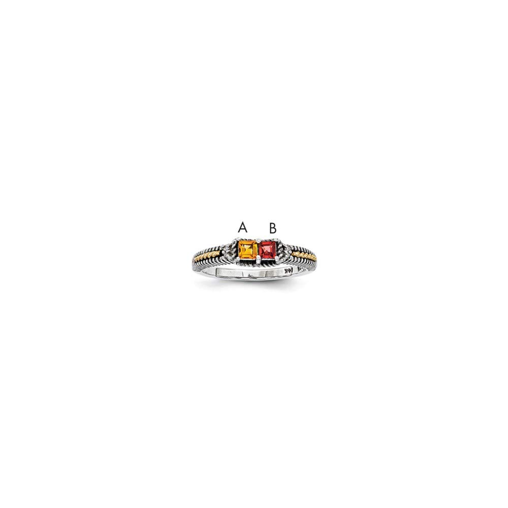 Sterling Silver /& 14k Two-stone and Diamond Mothers Ring Semi-Mount Size 5 Length Width 5