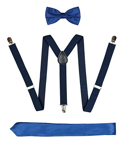 Mens Braces for Trousers Leather Suspenders Necktie and Bow Tie Set Classic Costume Accessories (Novelty Mens Tie Clothing)