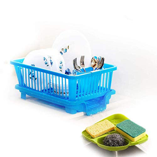 Prexo Popular Combo Kitchen Sink Organiser & 3 in 1 Kitchen Sink Dish Rack Drainer Drying Rack Washing Basket with Tray…