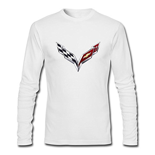 BENUBONE Men's Motors Corvette Logo Long Sleeve T-Shirt White (Corvette White T-shirt)