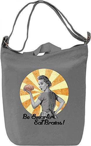 Eat brains Borsa Giornaliera Canvas Canvas Day Bag| 100% Premium Cotton Canvas| DTG Printing|