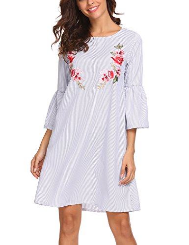 Unibelle Women Floral Print Long Sleeve V Neck Casual A-line Shift Dresses, Navy Blue, S