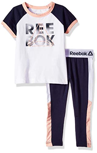 Reebok Girls' Big Short Sleeve Printed T-Shirt and Pull-On Legging Set, Training Ringer Navy, 7