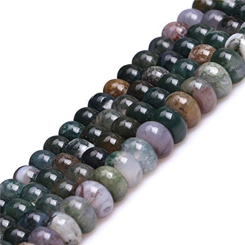 JOE FOREMAN 5X8mm Indian Agate Semi Precious Gemstone Rondelle Loose Beads for Jewelry Making DIY Handmade Craft Supplies 15