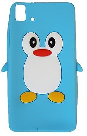 SKS Distribution® azul claro silicona pingüino FUNDA / CARCASA / COVER para BQ Aquaris E5