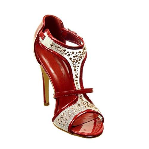 Angkorly - damen Schuhe Pumpe - Stiletto - T-Spange - Offen - Fischnetz schuh - Strass Stiletto high heel 11 CM - Burgunderrot