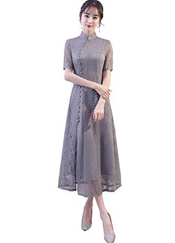 Shanghai Story Women's Cheongsam Stand Collar Chinese Dress Lace Qipao 2XL Grey ()