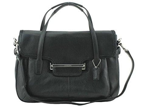 Coach-Taylor-Leather-Marin-Flap-Satchel-Tote-Shoulder-Bag-Handbag-Color-Black-26781