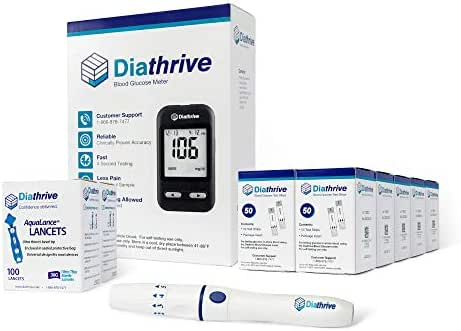 Diathrive Blood Glucose Monitoring Kit – Diathrive Blood Glucose Meter, 500 Blood Test Strips, 1 Lancing Device, 30 Gauge Lancets-200 Count, Control Solution, Logbook, and Carrying Case