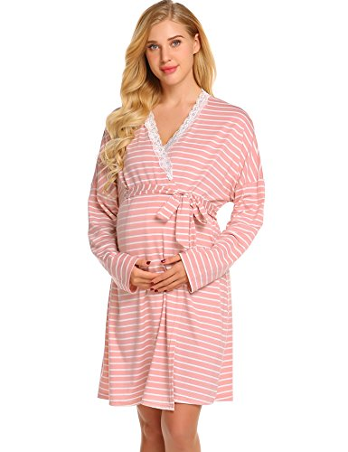 dfec2dbe465 Ekouaer Womens Maternity Pregnancy Labor Robe Delivery Nursing Nightgowns  Hospital Breastfeeding Gown S-XXL - Buy Online in Oman. | Apparel Products  in Oman ...