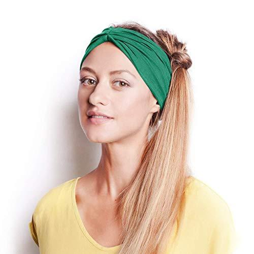 (GDJGTA Headband Women or Girls Cotton Knotted Turban Head Warp Hair Band Wide Elastic Sport Yoga Headband)