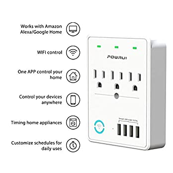 Smart Plug(2.4G Only), USB Wall Charger, POWRUI WIFI Surge Protector with 4 USB Charging Ports(4.8A 24W Total) and 3 Smart Outlet Extender, Compatible with Alexa Google Assistant for Voice Control