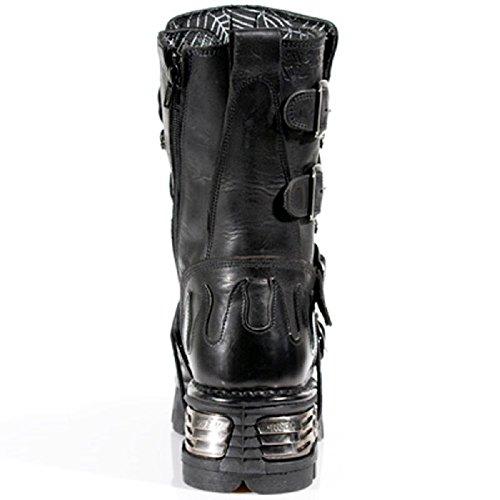 New Rock Gothique / Punk Unisex Noir avec Noir Skull Devil and Flames design Bottes