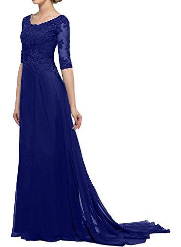 Linie Abendkleider Royal Spitze mit mia Brautmutterkleider Herrlich Partykleider A Langarm Hundkragen Braut Blau Partykleider La Dunkel xgq6RPx