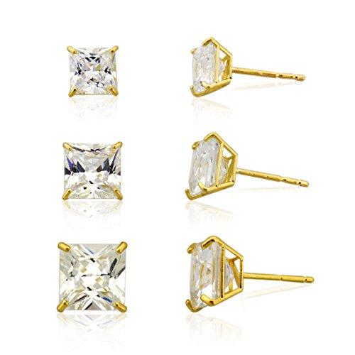 3-pair 10k Yellow Gold Princess Cut Cubic Zirconia Stud Earring Set,(3mm,4mm & 5mm)