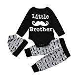Newborn Infant Baby Clothes Set Romper Top+Long Pants +Hat (age:12-18month, black)