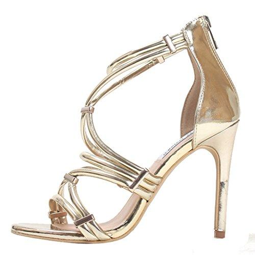 Kvinna Mode Strappy Zip-up Hög Klack Klänning Stilett Sandal För Fest Guld