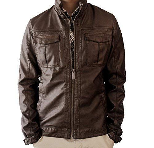 Zara Men S Brown Faux Leather Distressed Outerwear Slim Fit Jacket