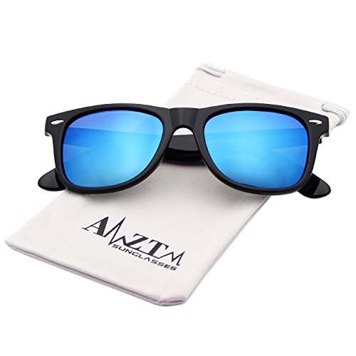AMZTM Classic Square Retro Mirrored Lens Polarized Designer Wayfarer Sunglasses (Bright Black Frame Ice Blue Lens, - Wayfarer Designer