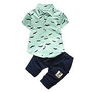 Coper Summer Fashion Beard T Shirt Tops+Shorts Pants Set For Baby Boys (Green, 12 Months)