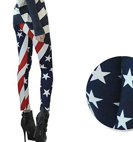 Frixie (TM) donne moda bandiera americana stelle e strisce USA donna leggings pantaloni