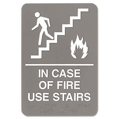 - ADA Sign, 6 x 9, In Case of Fire Use Stairs, Gray