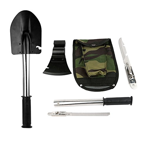ezyoutdoor Multifunctional Rescure Survival Tools Set, Shovel Axe Knife Saw Camping Kit, 1 Universal Handle and 4 Piece Tool Head