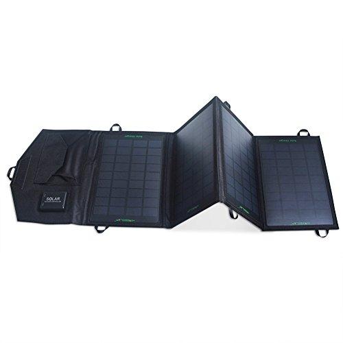 Solar Charger:KINGSOLAR™ 14W Foldable Solar Panel Portable Solar Charger Dual-Port Solar Charger(Black)