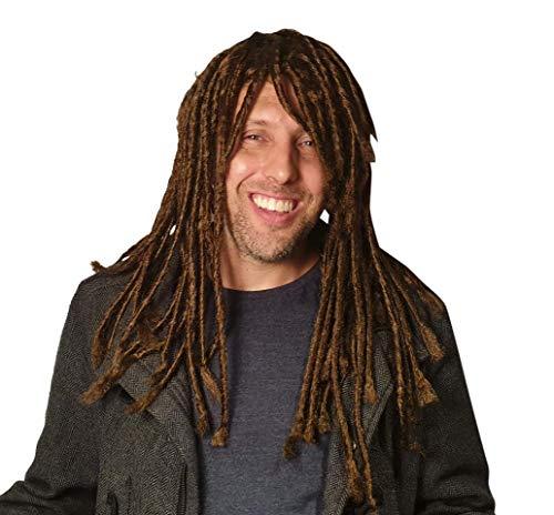 Dreadlock Wig for Men Hippie Gangster Beach Bum Reggae Rasta Man Homeless Dreads Dark Brown -