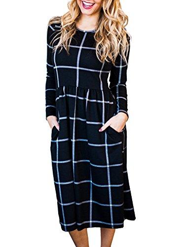 Plaid Empire Dress (ZESICA Women's Plaid Print Pleated Long Sleeve Pockets Casual Swing T Shirt Dress)