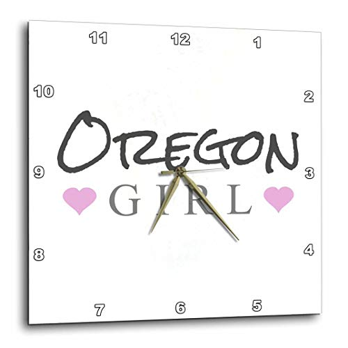 3dRose DPP_161869_1 Oregon Girl Home State Pride USA United States of America Text and Cute Girly Pink Hearts Wall Clock, 10 by 10-Inch