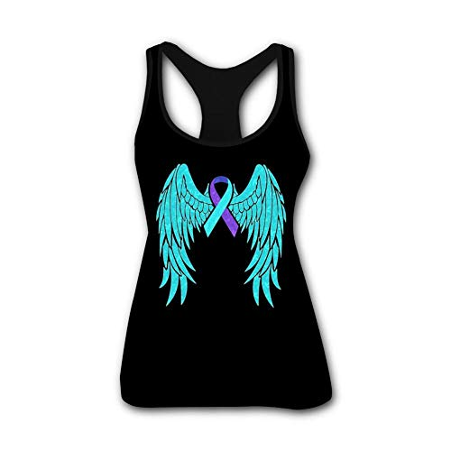 Women's 3D Printed Leisure Suicide Prevention Butterfly Ribbon Sleeveless T Shirt Tank Top M Black