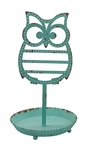 Tree Shape Earring (NIKKY HOME Shabby Chic Metal Owl Shape Jewelry Tower Holder with Tray, Distressed Blue)