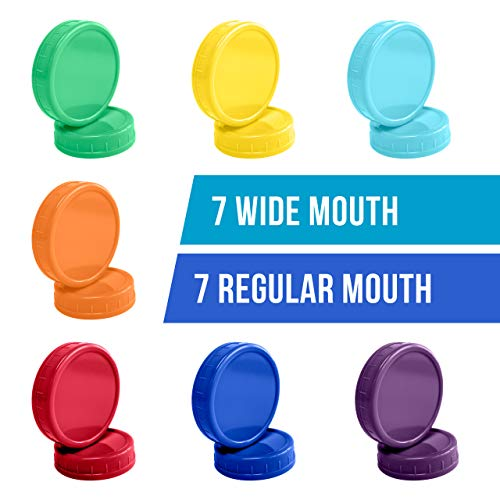 The Goods Mall [14 Pack] Color Plastic Mason Jar Lids - Fits BALL or KERR - 7 Wide Mouth & 7 Regular Mouth by The Goods Mall (Image #1)