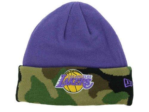 Los Angeles Lakers Hardwood Classics Purple Camo Cuffed Knit Beanie Hat