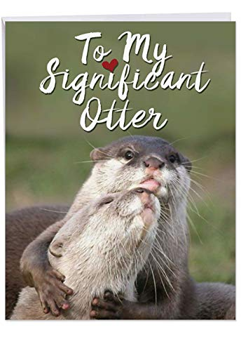 Valentine's Day Greeting Card 'significant Otters' with Envelope (Letterhead 8.5 x 11 Inch) - Wildlife Animal with Their Significant Otter - Big Animal V-day Stationery - Card Funny Her For Valentines