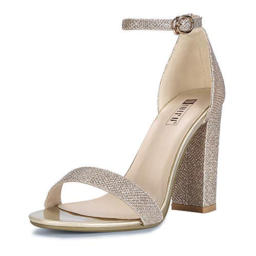 IDIFU Women's IN4 Cookie-HI Open Toe High Chunky Block Heel Pump Sandal (Gold Glitter, 11 B(M) US) ()
