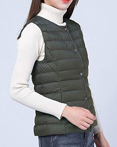 Del Ligero Sin Cálido Abrigos Verde Mangas Chaleco Mujer Casual Ultra Pluma Ejército Chaquetas De 5SX7U