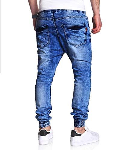 Jeans Jeans Vintage Zip Elastic Casual Blu Moto Denim Moda Sottile Hip Hop Wash Denim Street Wear Uomo Fit Biker Slim Pantaloni Afflitto fqSEzw7x