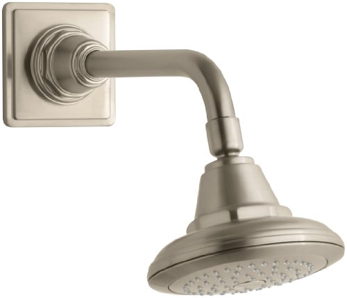 KOHLER K-13137-BV Pinstripe Single-Function Showerhead, Vibrant Brushed - Bv Tub Pinstripe