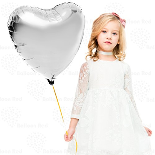 (18 Inch Helium Foil Mylar Balloons (Premium Quality), Pack of 6, Heart - Silver)