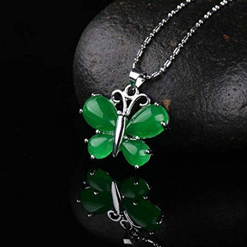 Stylish Boutique Natural Green Jade Butterfly Necklace Pendant Lucky Amulet ()