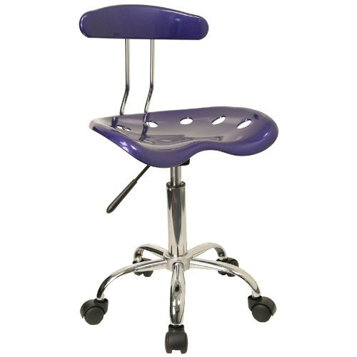 Flash Furniture LF-214-DEEPBLUE-GG Vibrant Deep Blue and Chrome Computer Task Chair with Tractor Seat by Flash Furniture