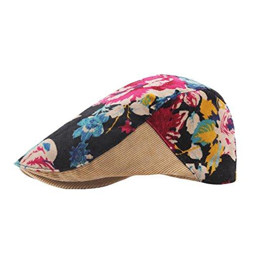 Vintage Corduroys Cotton (Suma-ma Print Wind Velvet Corduroy Splice Beret Short Sleeve Casual Vintage Cap (KH))