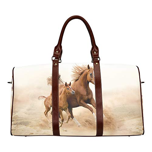 Large Leather Travel Duffel Bag For Men Women Purebred White Arabian Horse In Desert Printing Waterproof Overnight Weekend Bag Luggage Tote Duffel Bags For Travel Gym Sports School Beach